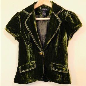 Embroidered Velvet Emerald Green Cap-Sleeve Jacket
